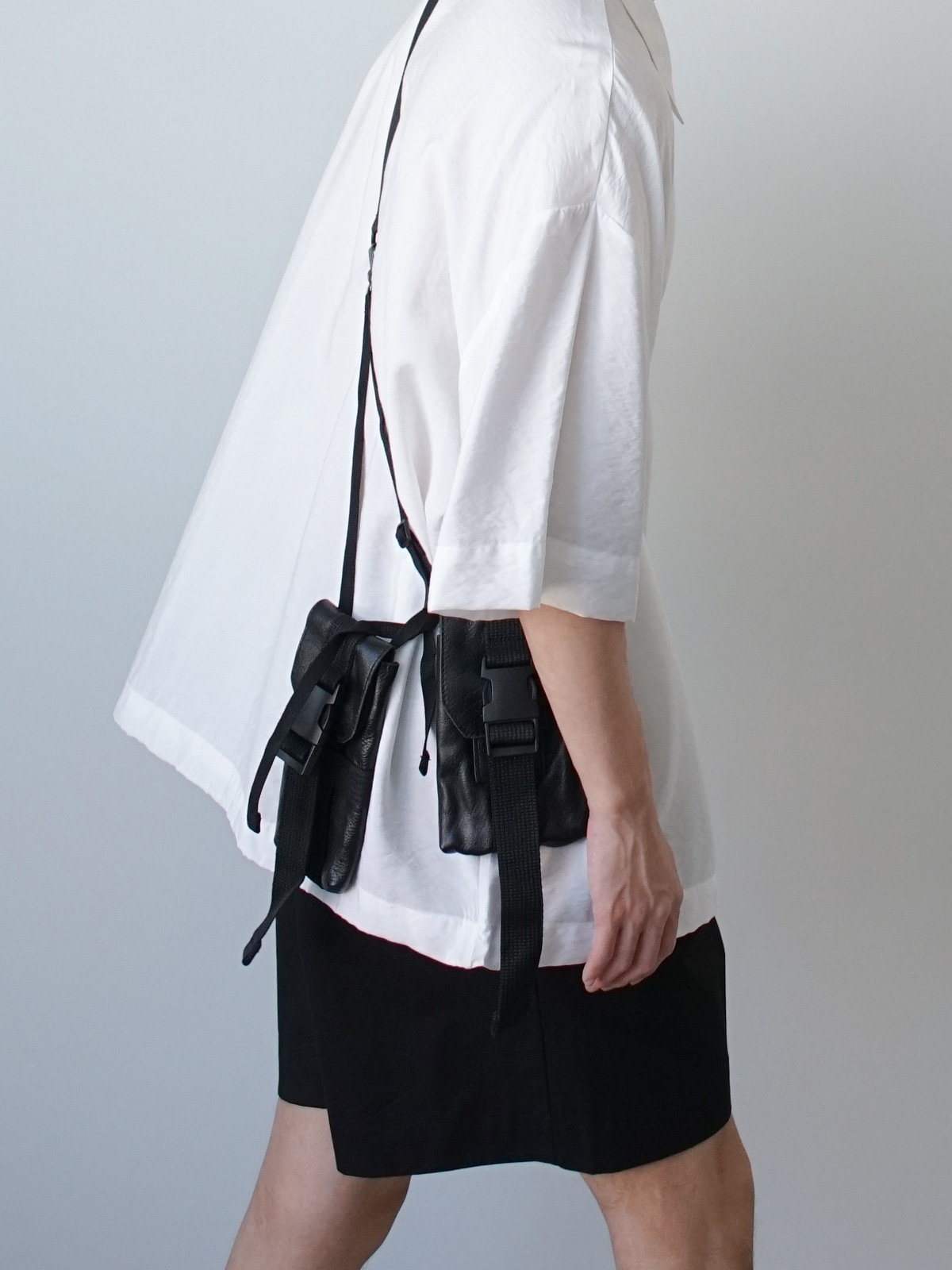 Double Out Pocket Leather Bag