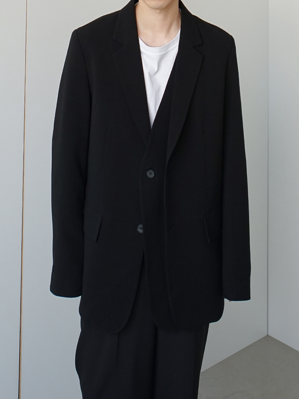 Cooti Double Lapel Blazer Black