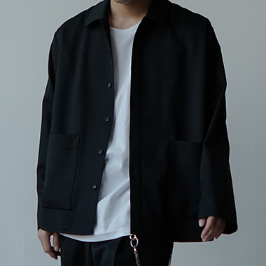 BLACK WOOL SHIRT JACKET
