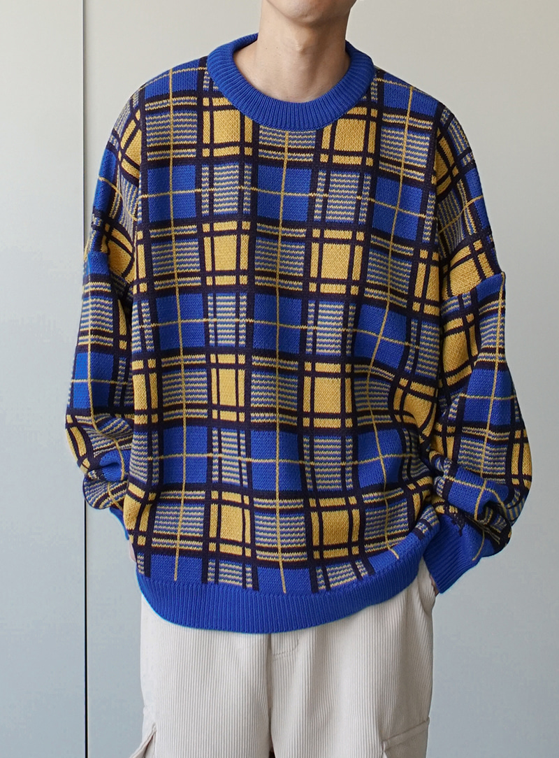 Multi Check Over Round Neck Knit (2color)