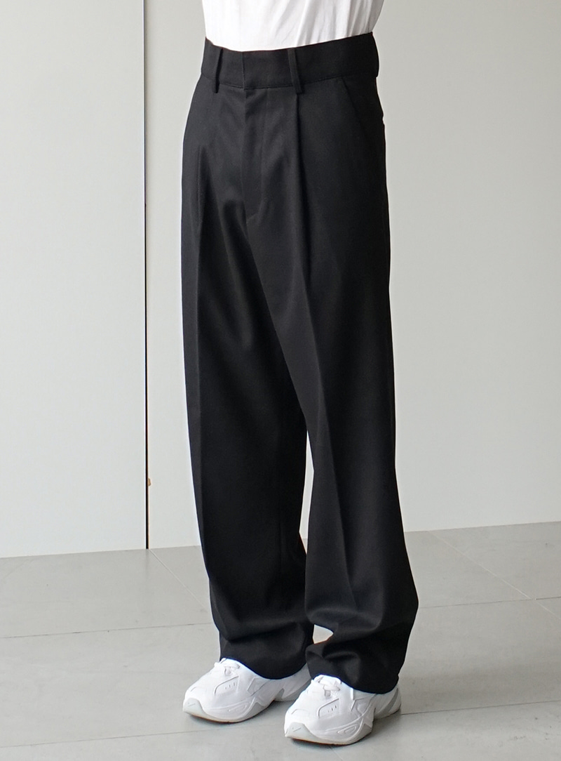 Heavy Wool One Tuck Wide Trousers (3color)