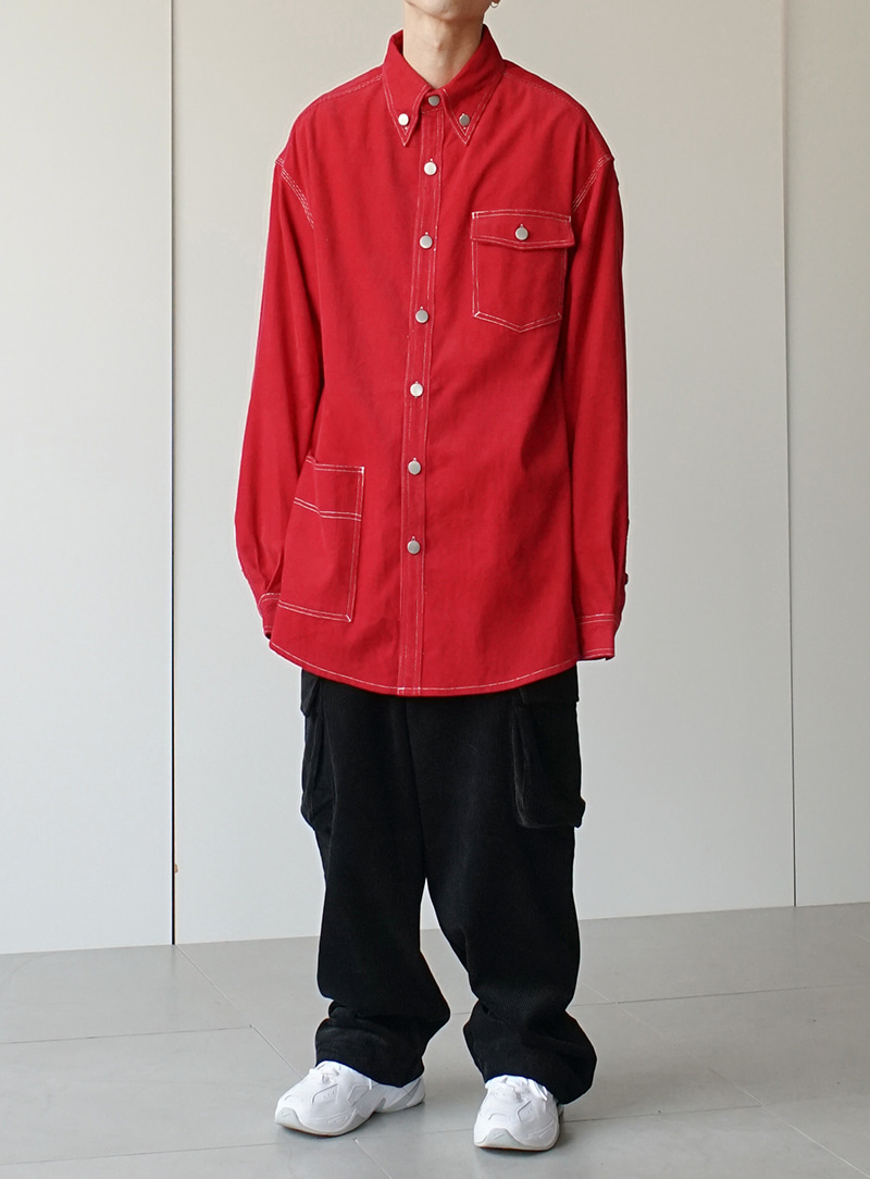 Stitch Corduroy Shirt Jacket (2color)