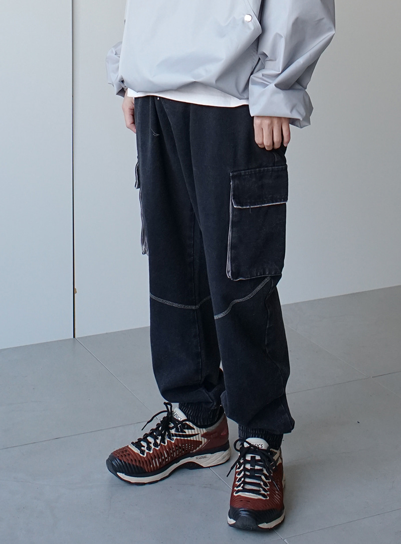 Washed Cargo Jogger Track Pants (2color)