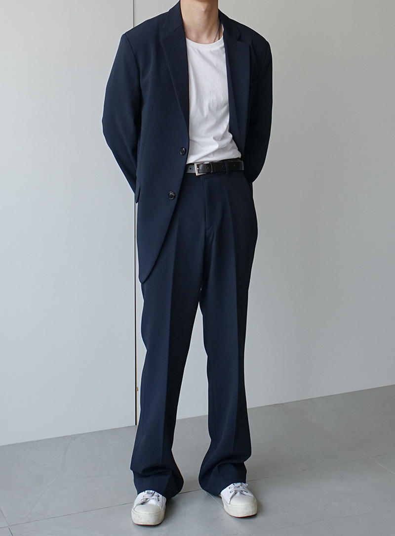 Finn Two Button Blazer Wide Trousers Set Up Navy