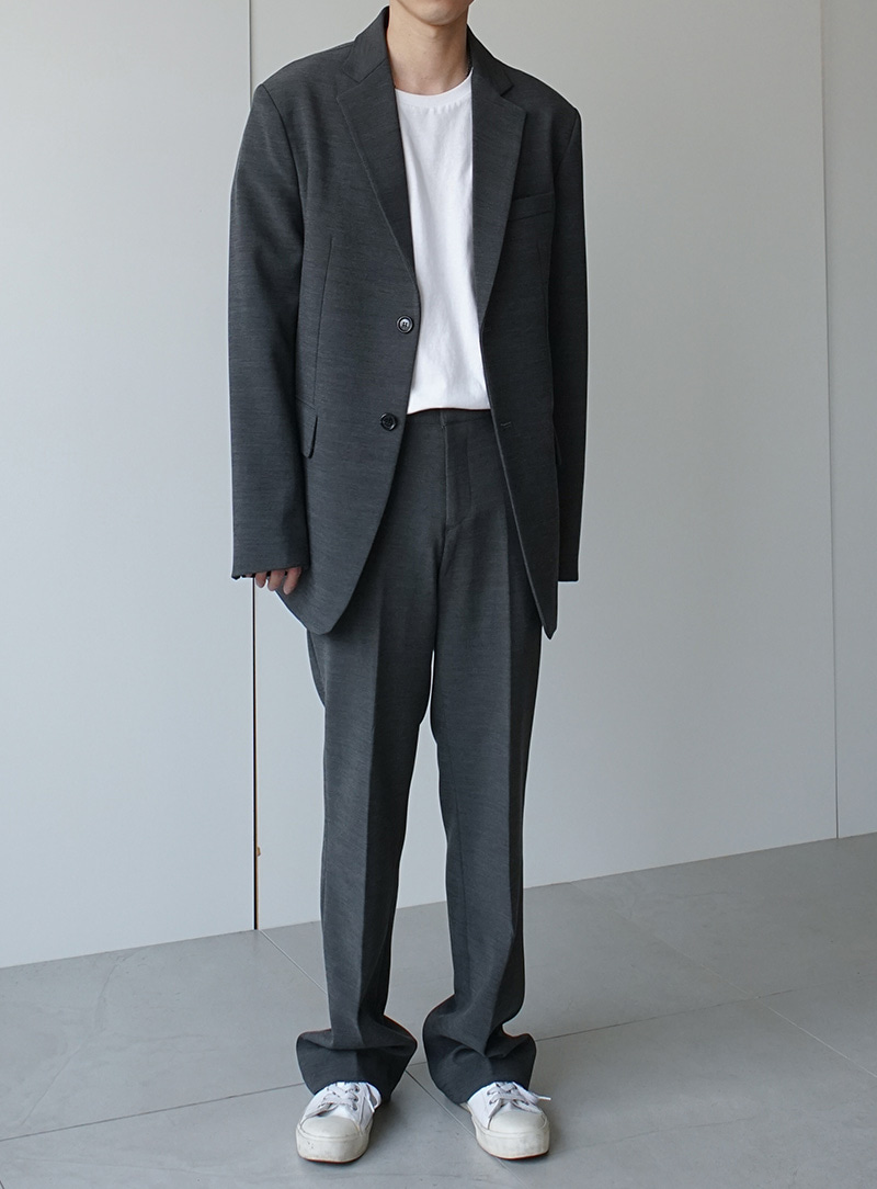 Finn Two Button Blazer Wide Trousers Set Up Gray