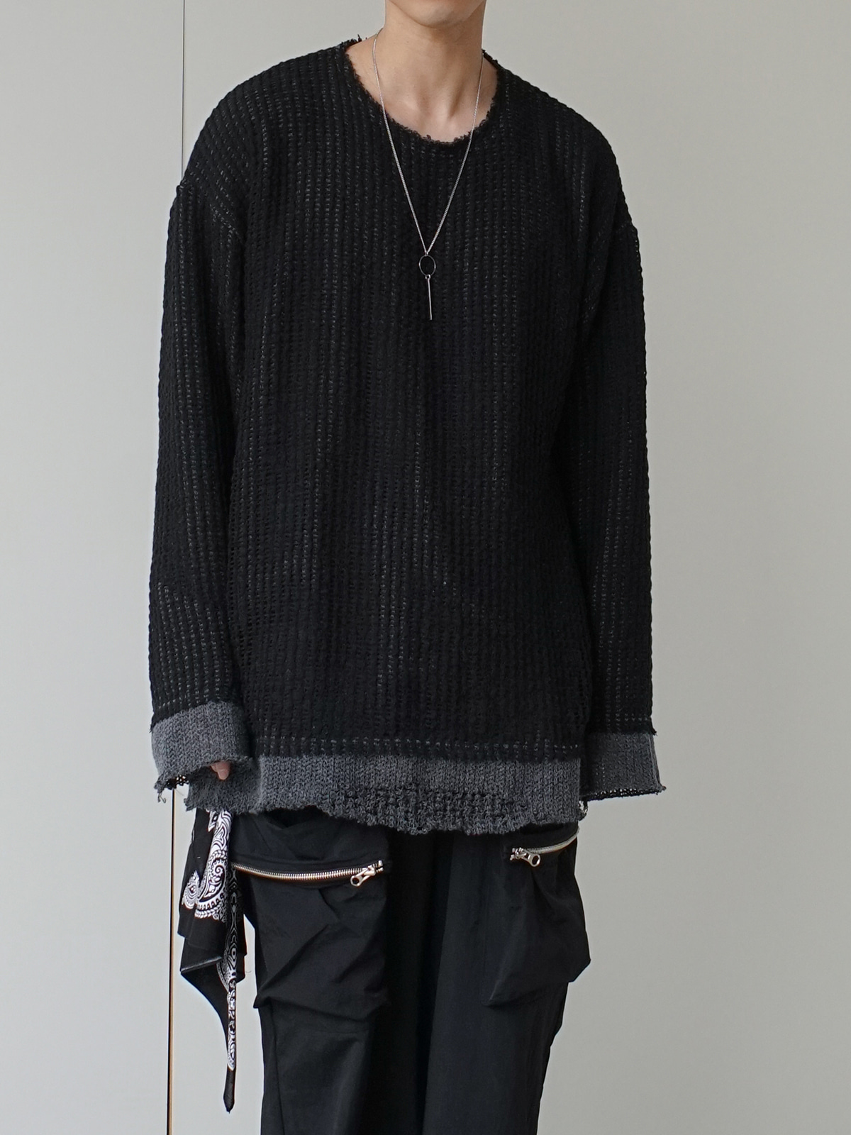 Grunge Double Layered Over Knit (2color)