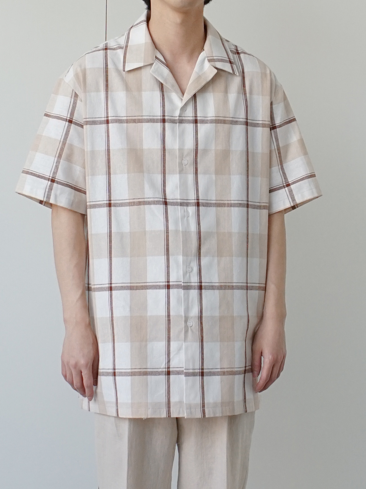 Pure Check Linen Half Shirt (2color)
