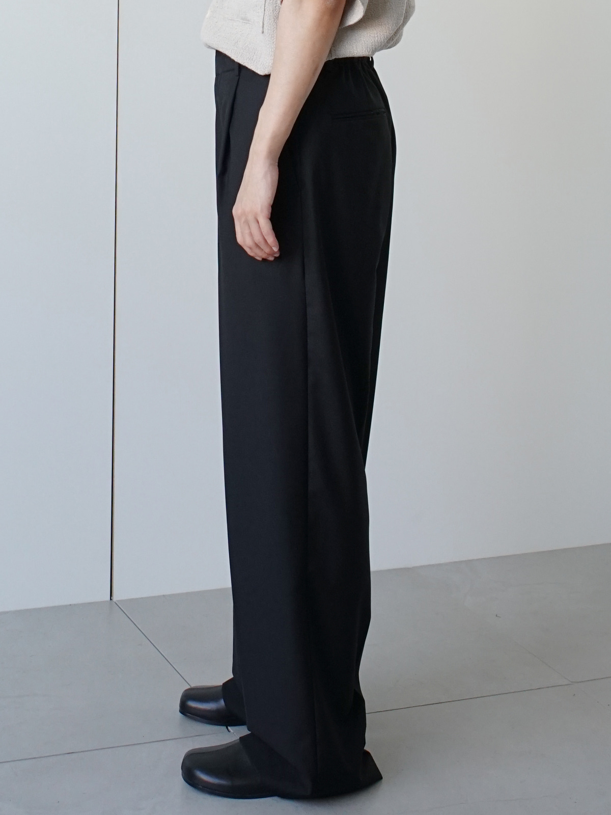 Note Wide Half Banding Trousers (4color)