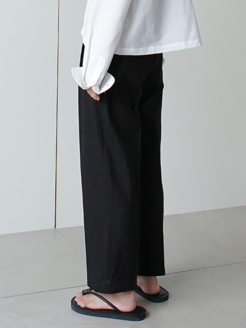 Rise Crop Linen Trousers (2color)