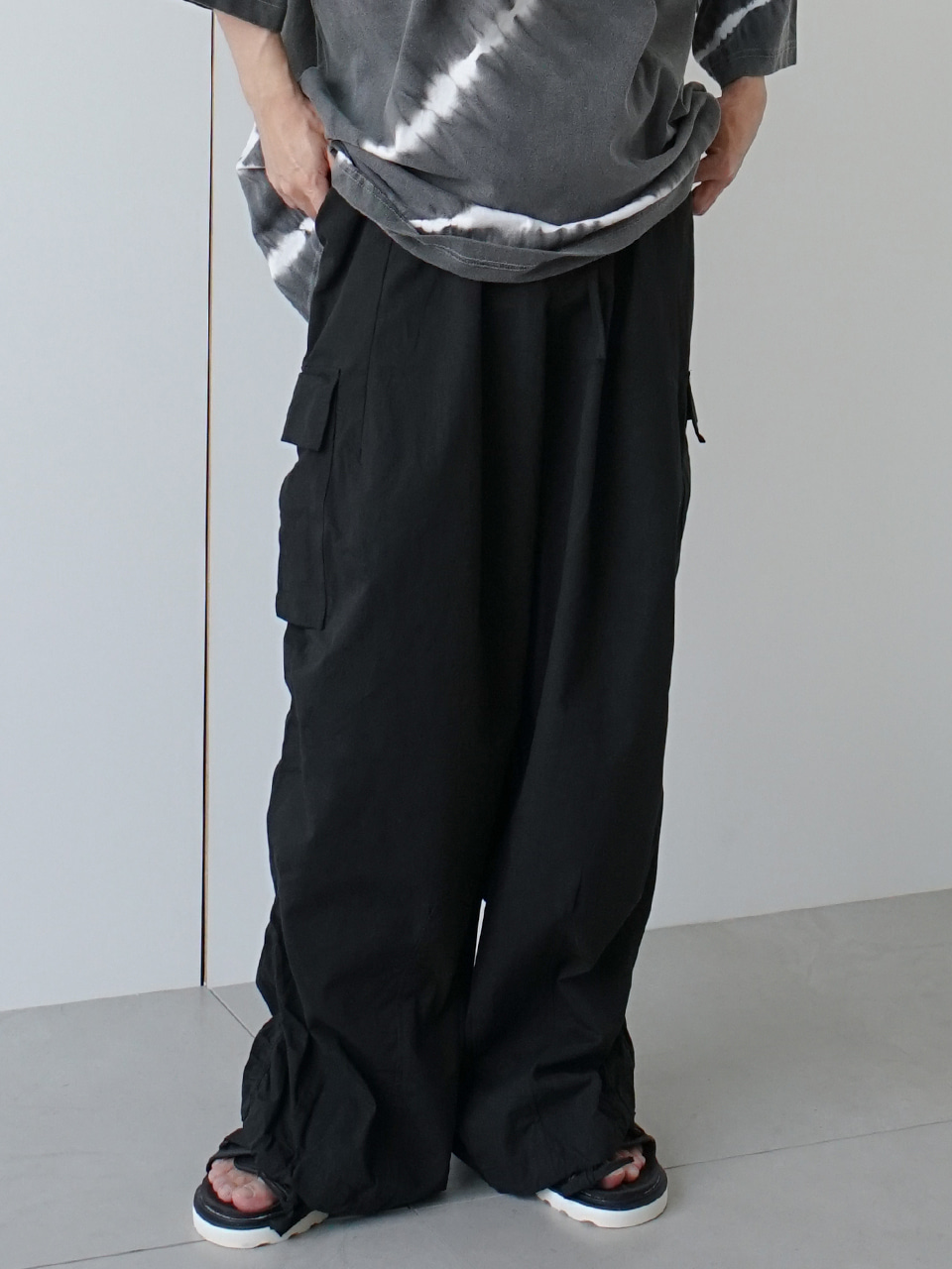 Ron Wide Shirring Trousers (2color)
