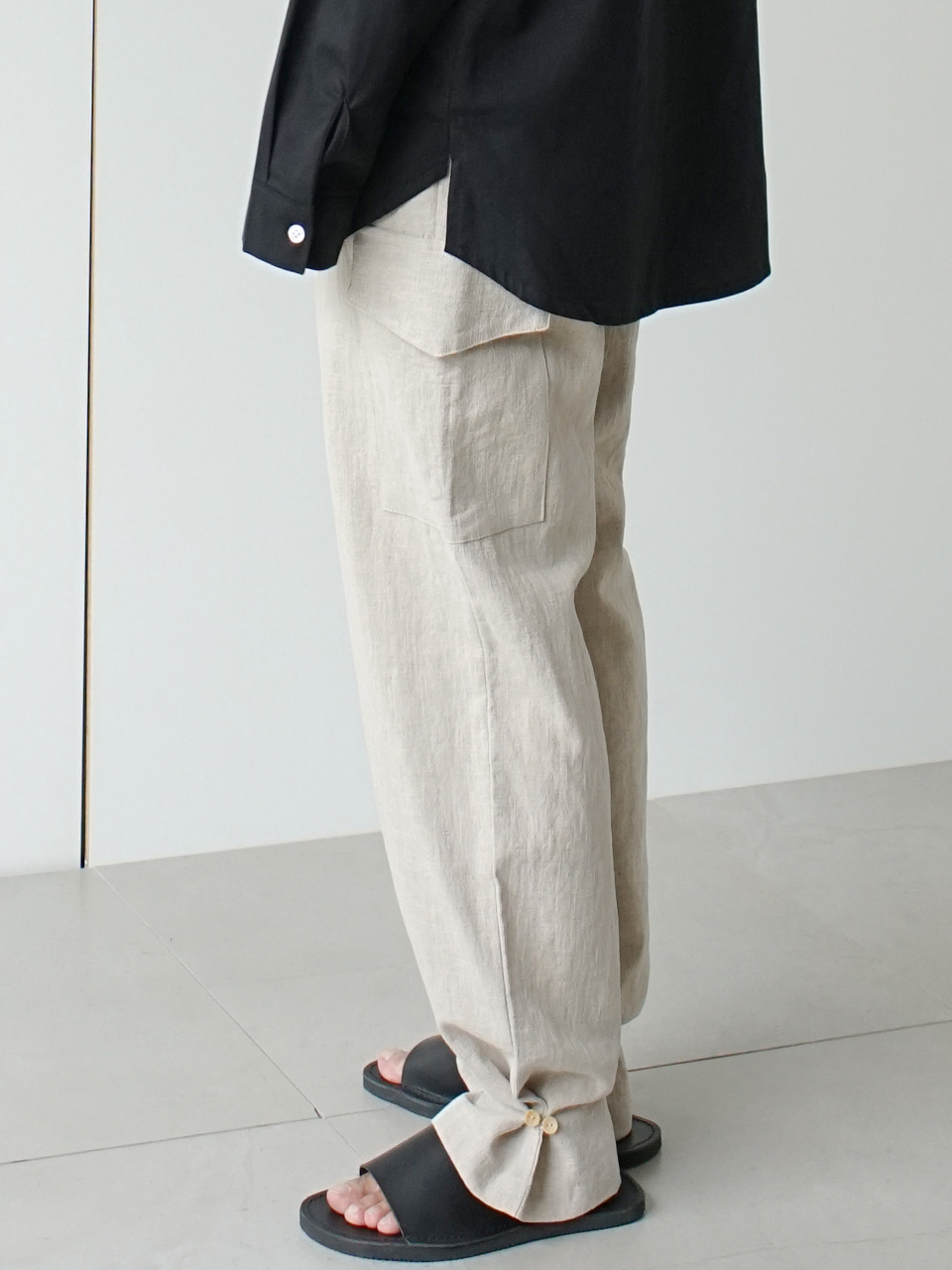 Bloo Linen Cargo Button Jogger Pants (2color)