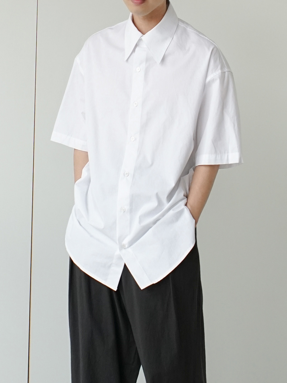 Cus Big Collar Half Shirt (2color)