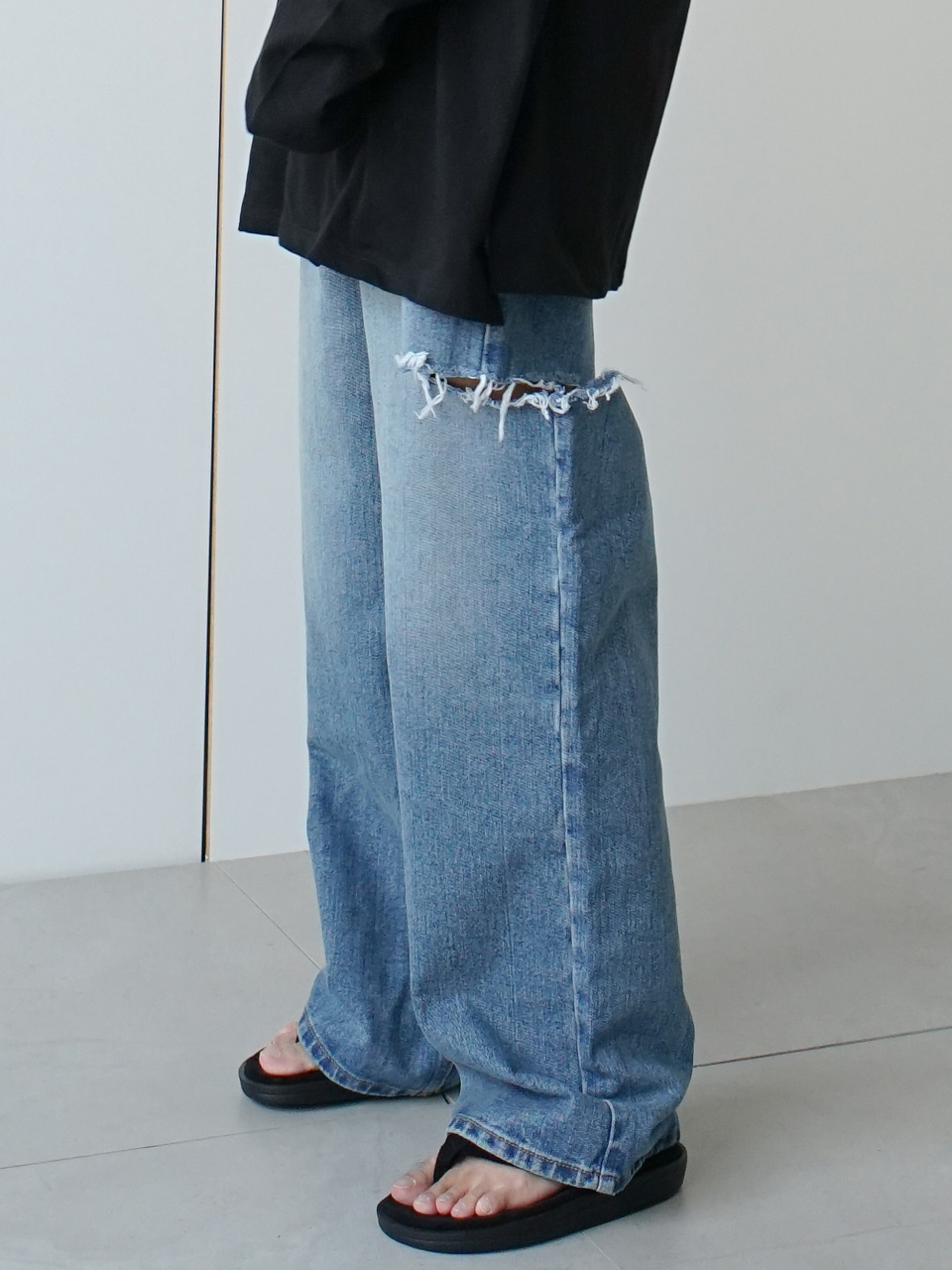 Scrapy Damaged Wide Denim Pants