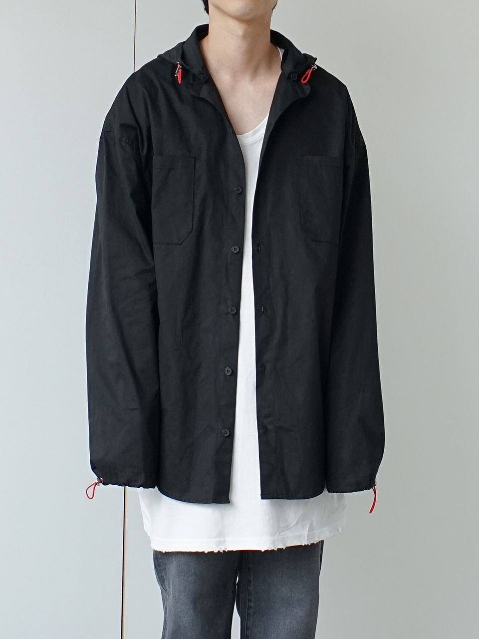 Melt String Button Hooded Shirt (2color)