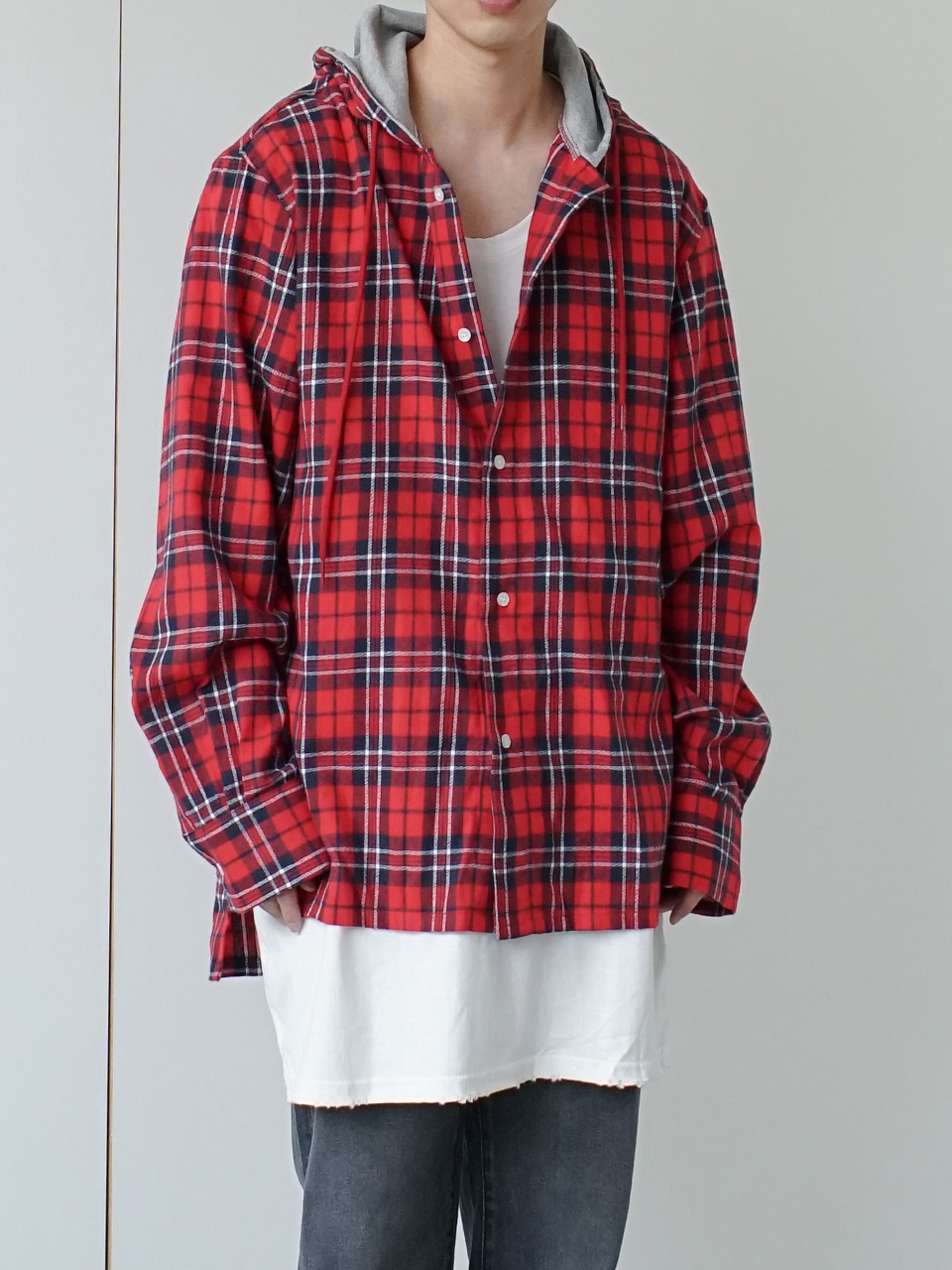 Indeed Flannel Hooded Shirt (3color)