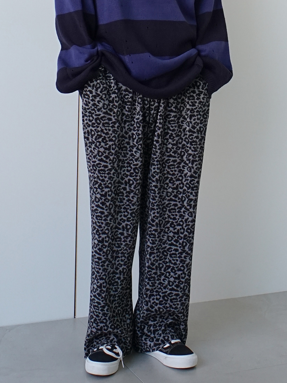Anther Leopard Print Pleats Pants
