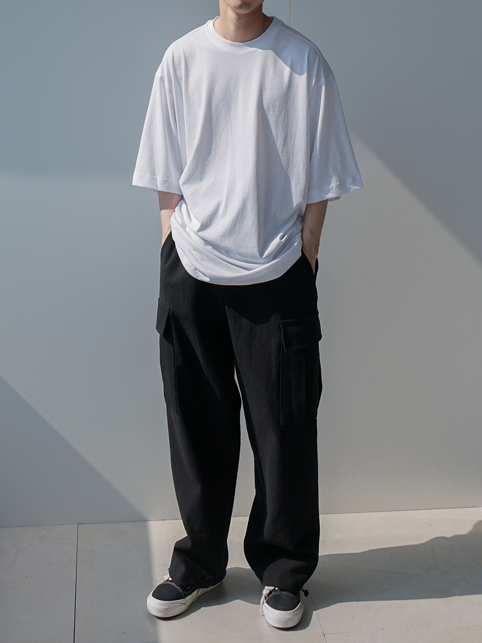 Dustin Linen Half Elastic Cargo Pants (2color)