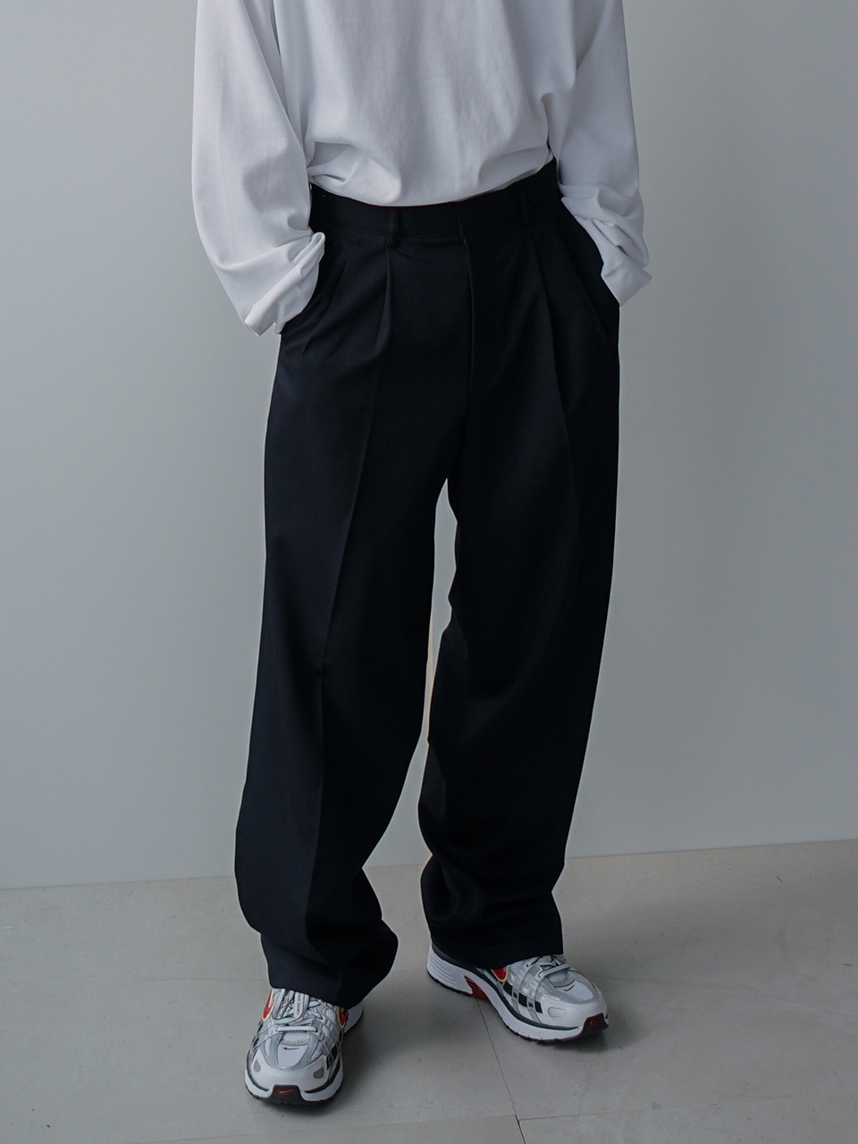 Splash Two Tuck Wide Trousers (4color)