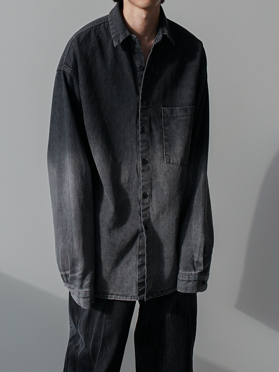 Vowel Gradation Denim Shirt