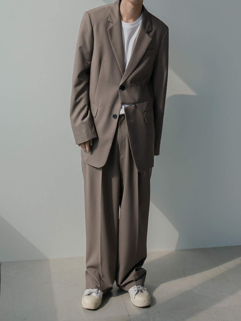 Low Front-Zip Suit Beige