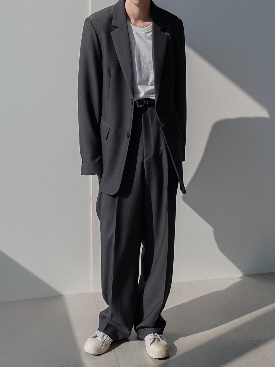 Low Front-Zip Suit Gray
