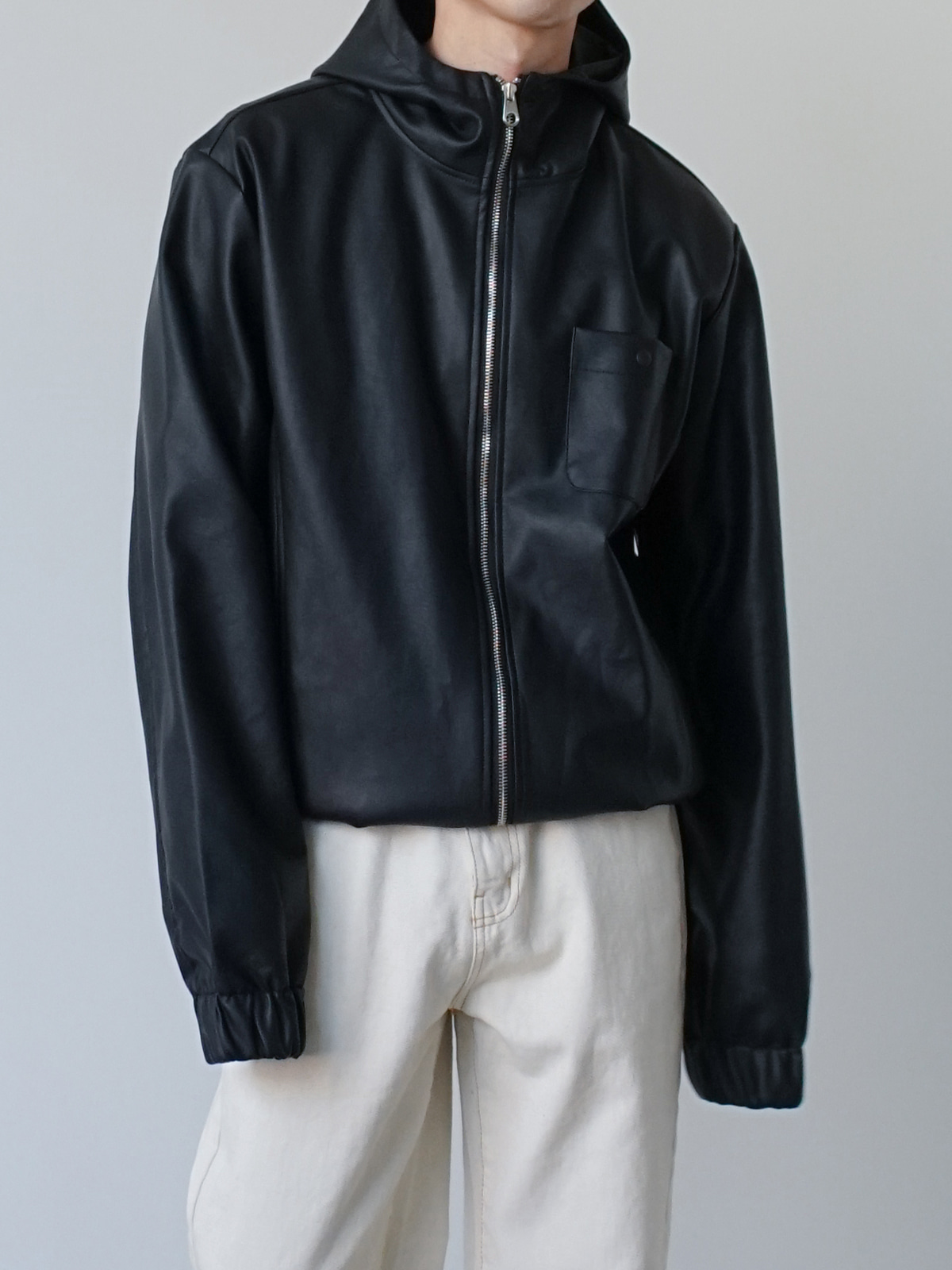 Matt Hooded Leather Jacket (2color)