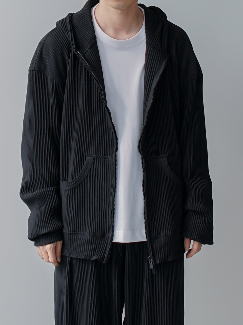 Or Pleats Hooded Zip Jacket (4color)
