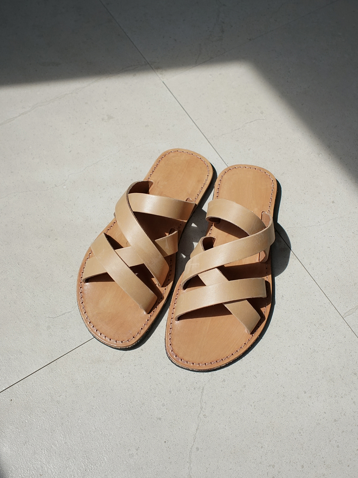 Multi Cross Sandals Beige