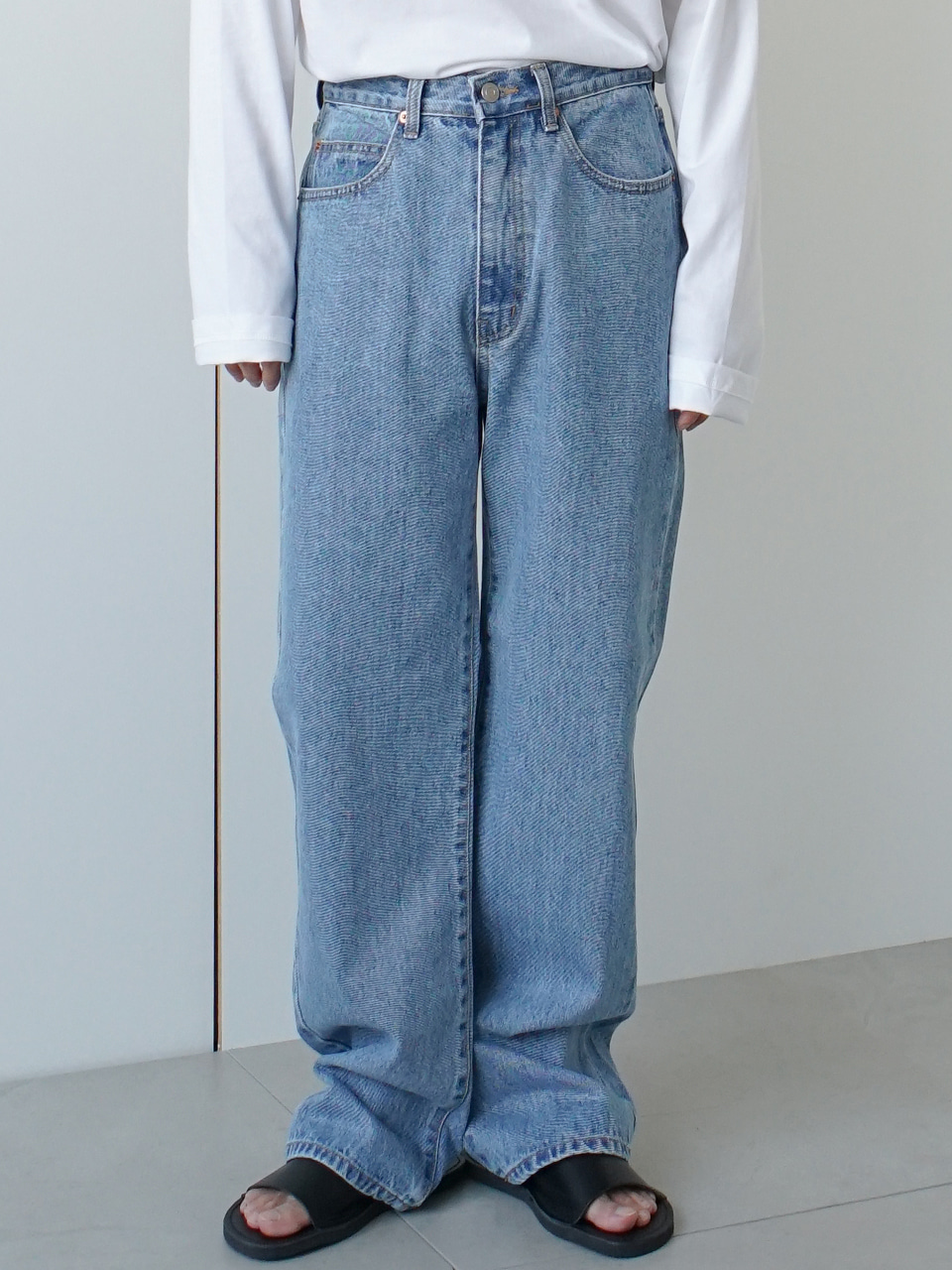 Plamit Semi Wide Denim Pants