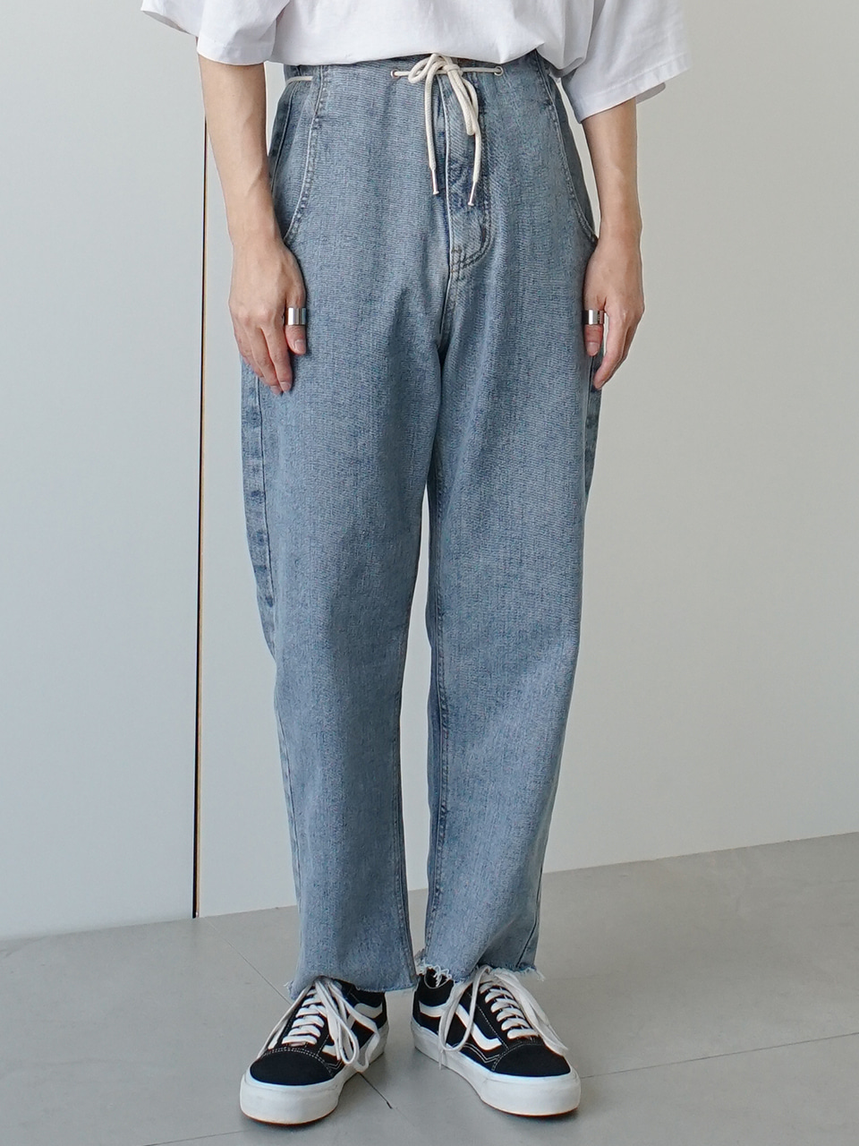 Dedus High Waist String Denim Pants