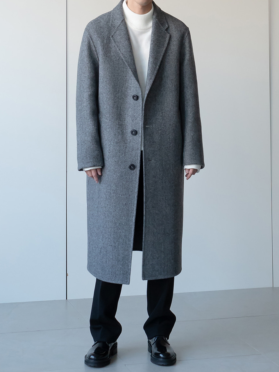 Arena Wool Handmade Herringbone Single Long Coat
