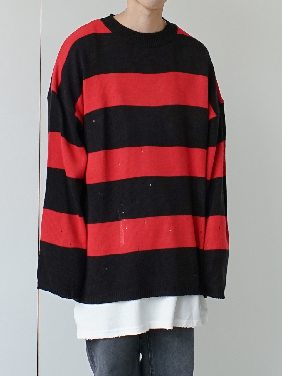 Pare Stripe Damaged Knit (4color)