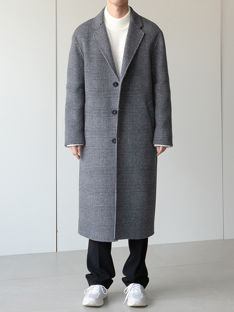 Dean Handmade Check Single Long Coat