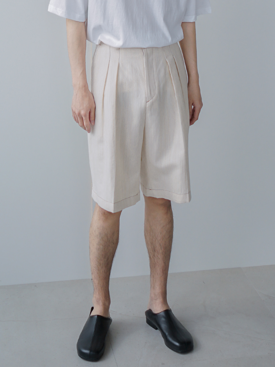Mighty Pintuck Cotton-Linen Shorts