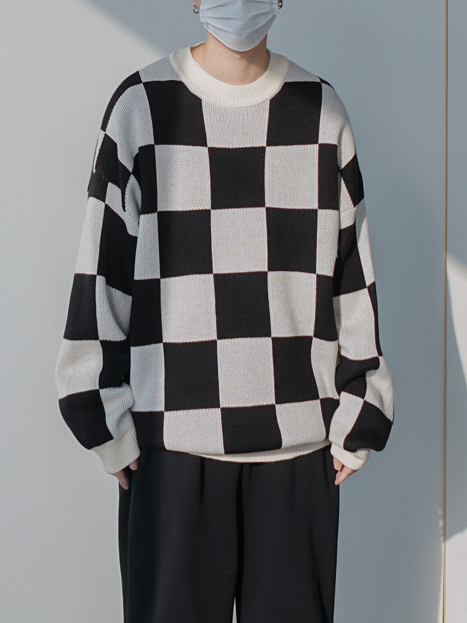 Cream Checkerboard Knit (2color)