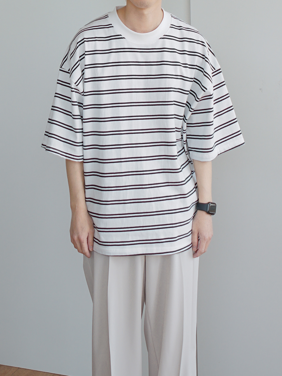 On Stripe Over Half Tee (2color)