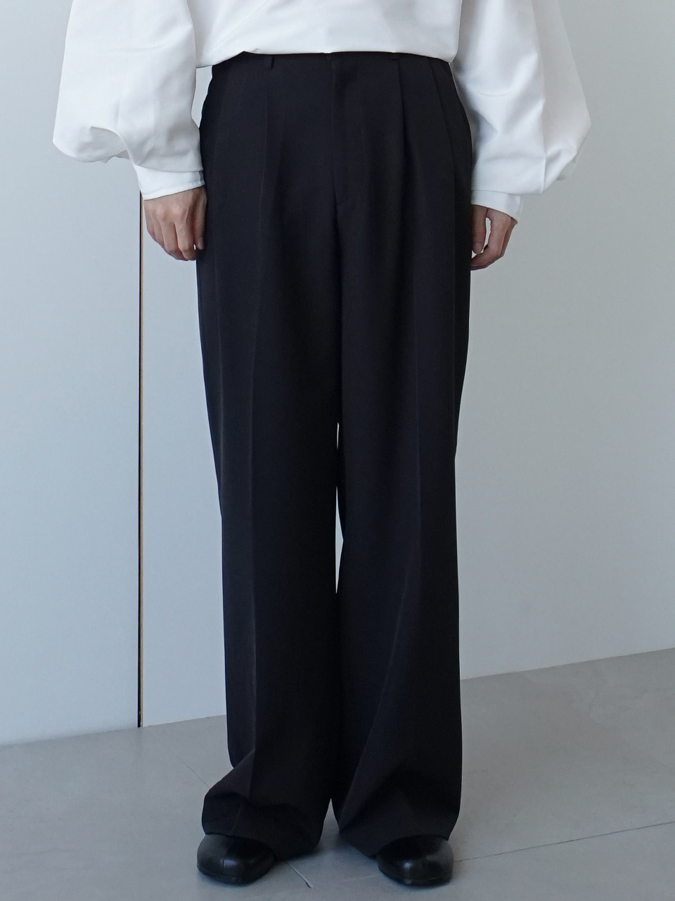Edge Wide Pintuck Trousers (3color)