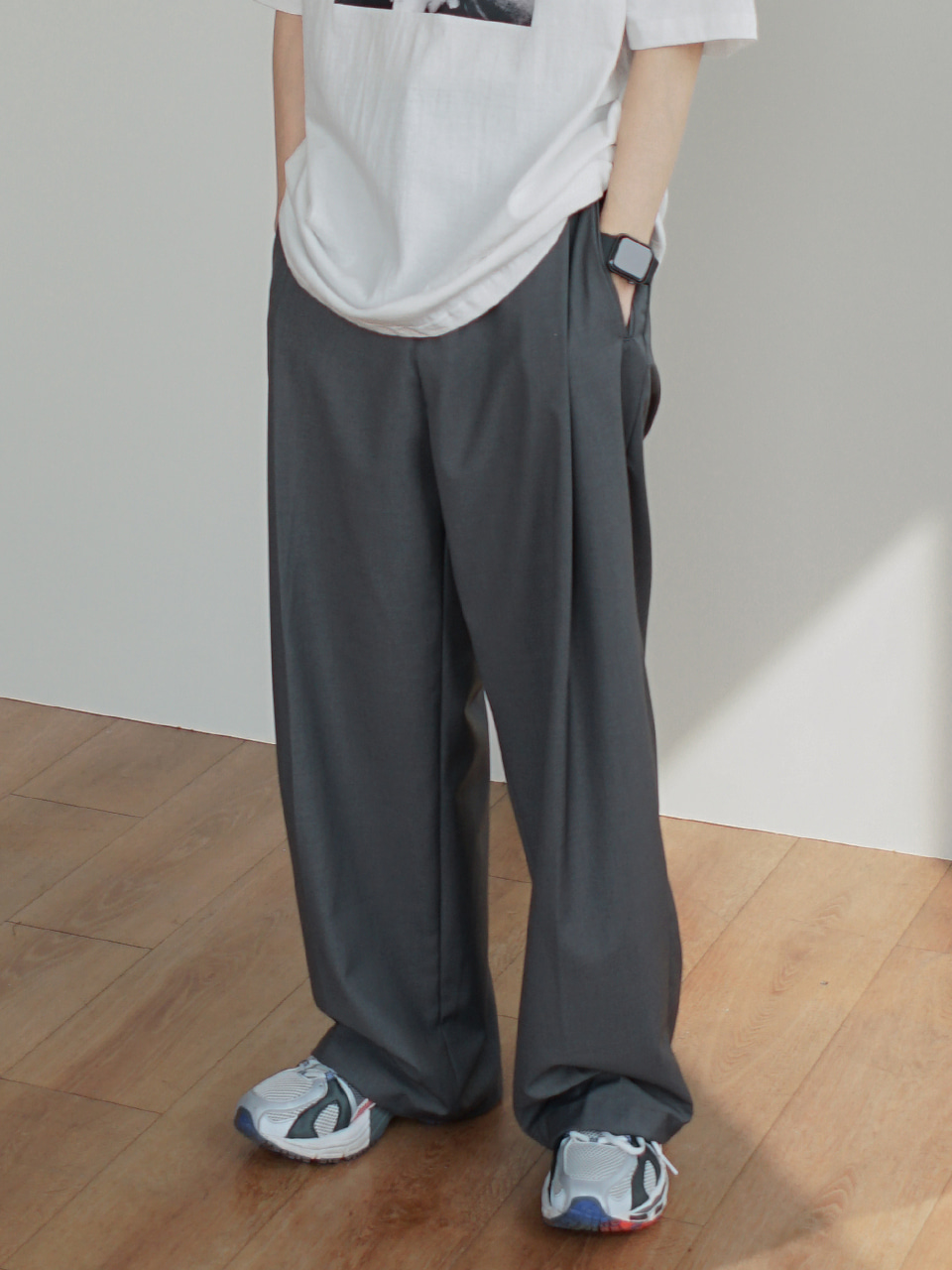 Lights Deep Tuck Trousers (3color)